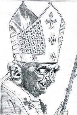 papa ratzinger b&w