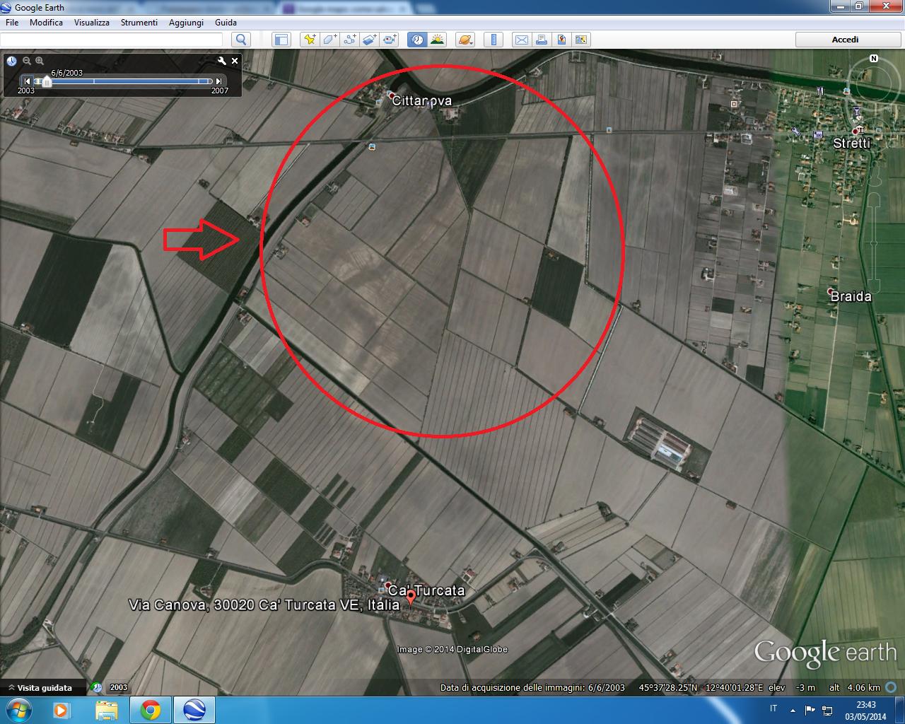Antica città di Cittanova  Heraclia ripresa dal satellite di Google maps il 6 giugno 2003 con evidenza